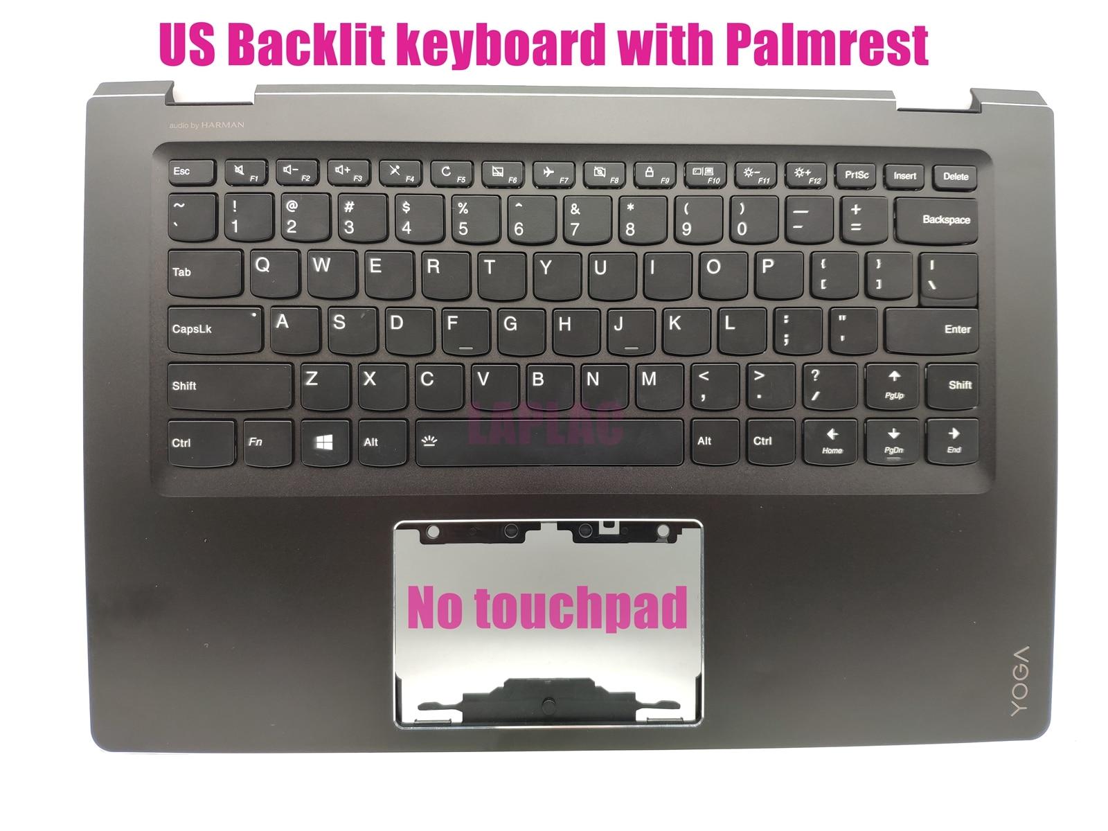 Teclado retroiluminado US Palmrest para Lenovo Yoga 510-14AST (80S9)/510-14IKB (80VB)/510-14ISK (80S7/80UK) AM1JE000120 5CB0L66081 WKG27