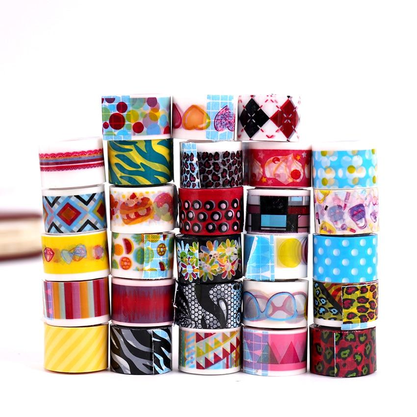 10PCS/set Mini Cartoon Tapes Decoration Roll Candy Colors DIY Decorative Sticky Masking Tape Self Adhesive Scrapbook Tape