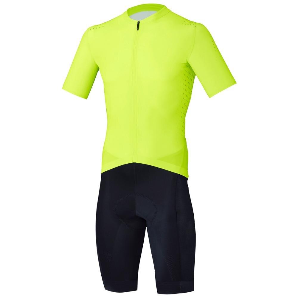 Fluo amarillo Jersey Ciclismo hombres Mono para triatlón mono traje Maillot Ciclismo Ropa Ciclismo Correr bicicleta deportes conjunto
