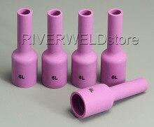 TIG uzun alümina seramik meme gaz Lens 54N16L #6 TIG kaynak meşale sarf malzemeleri SR PTA DB WP 17 18 26 serisi, 5PK