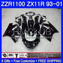 Brillo negro Kit para KAWASAKI NINJA ZX11 ZX-11R 93 01 ZX11R 93 94 95 96 97 0HM.1 ZZR1100 ZX 11R 1993, 1994, 1995, 1996, 1997 carenado