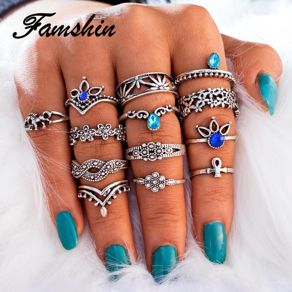 FAMSHIN 13 PCS/Set Retro Flower Infinite Knuckle Rings For Women Vintage Geometric Pattern Crystal Rings Set Party Bohemian Jewe