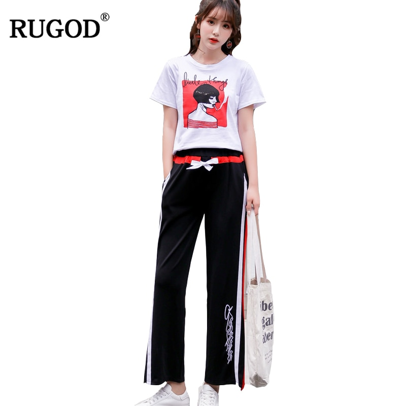 RUGOD 2019 moda mujer verano chándales Casual cuello redondo manga corta Camiseta + Pantalones largos a rayas traje 2 dos piezas Befree Set