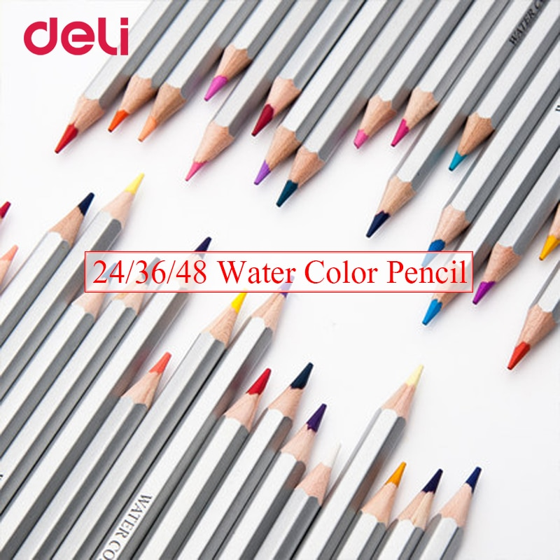 Deli professional 24/36/48 color acuarela lápiz set para dibujar escuela Oficina arte suministro marca papelería de colores de madera lápiz