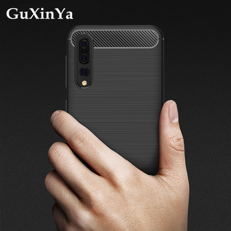 Silicone Case Huawei P20 Pro Cover For P20 Plus Case Soft Carbon Fiber Back Cover Bumper Cases Huawe