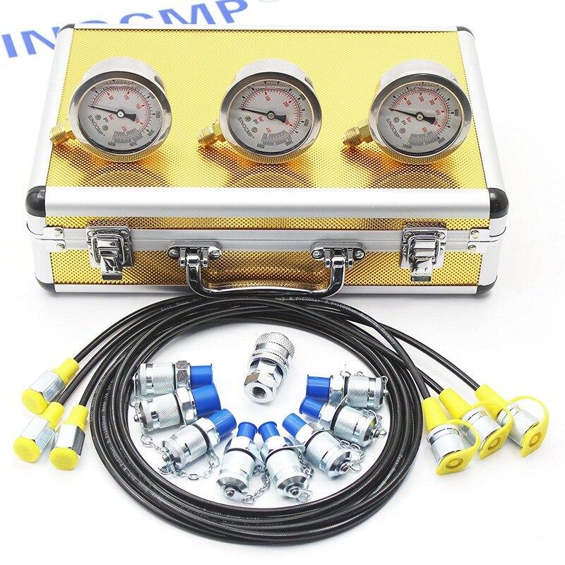 Kit de teste hidráulico do calibre de pressão, ferramenta diagnóstica, acoplamento hidráulico do verificador do ponto, caixa de alumínio do ouro, garantia de 2 anos