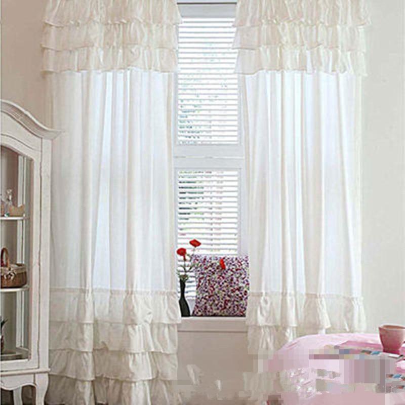 Envío Gratis volantes pastel de capas varilla bolsillo cortinas para sala de estar blanco rosa шторы escote con volantes princesa cortinas
