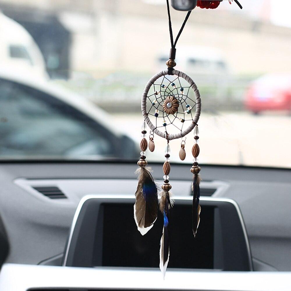 Подвеска для автомобиля, ручная работа, Ловец снов, перо, подвесное зеркало заднего вида, украшение для автомобиля, украшение, аксессуары для подарков 30 см