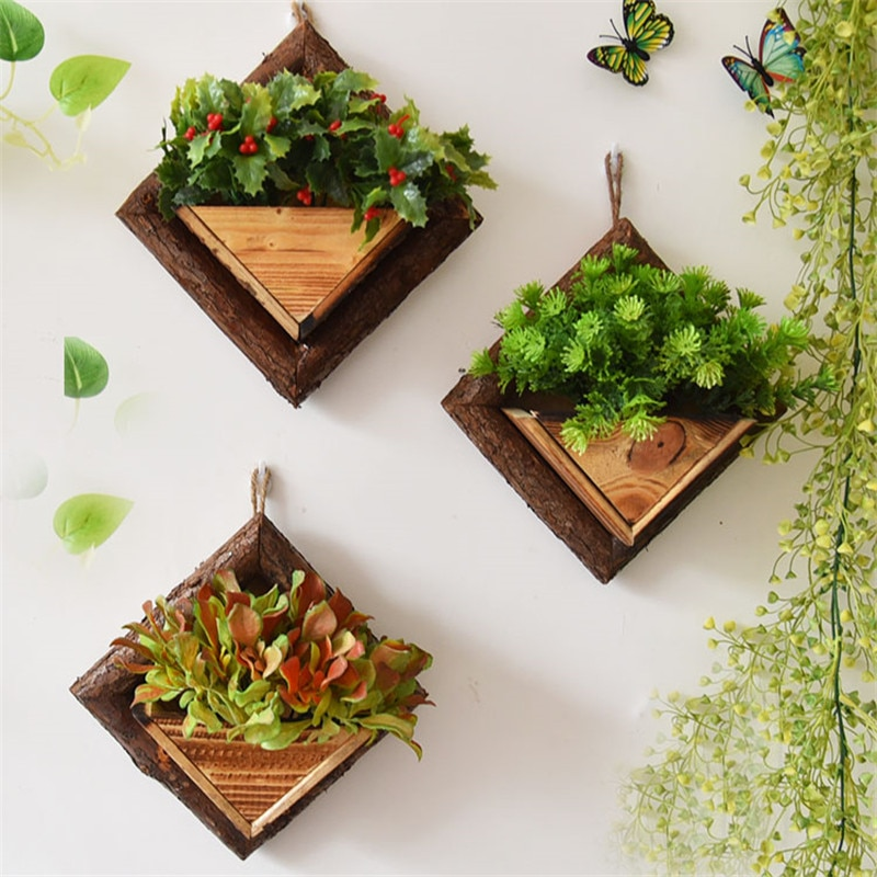 Wall Hanging Flower Pots Wooden Flower Container Wood Ornamental Hanging Baskets Wall Mount Flowerpots Garden Planter