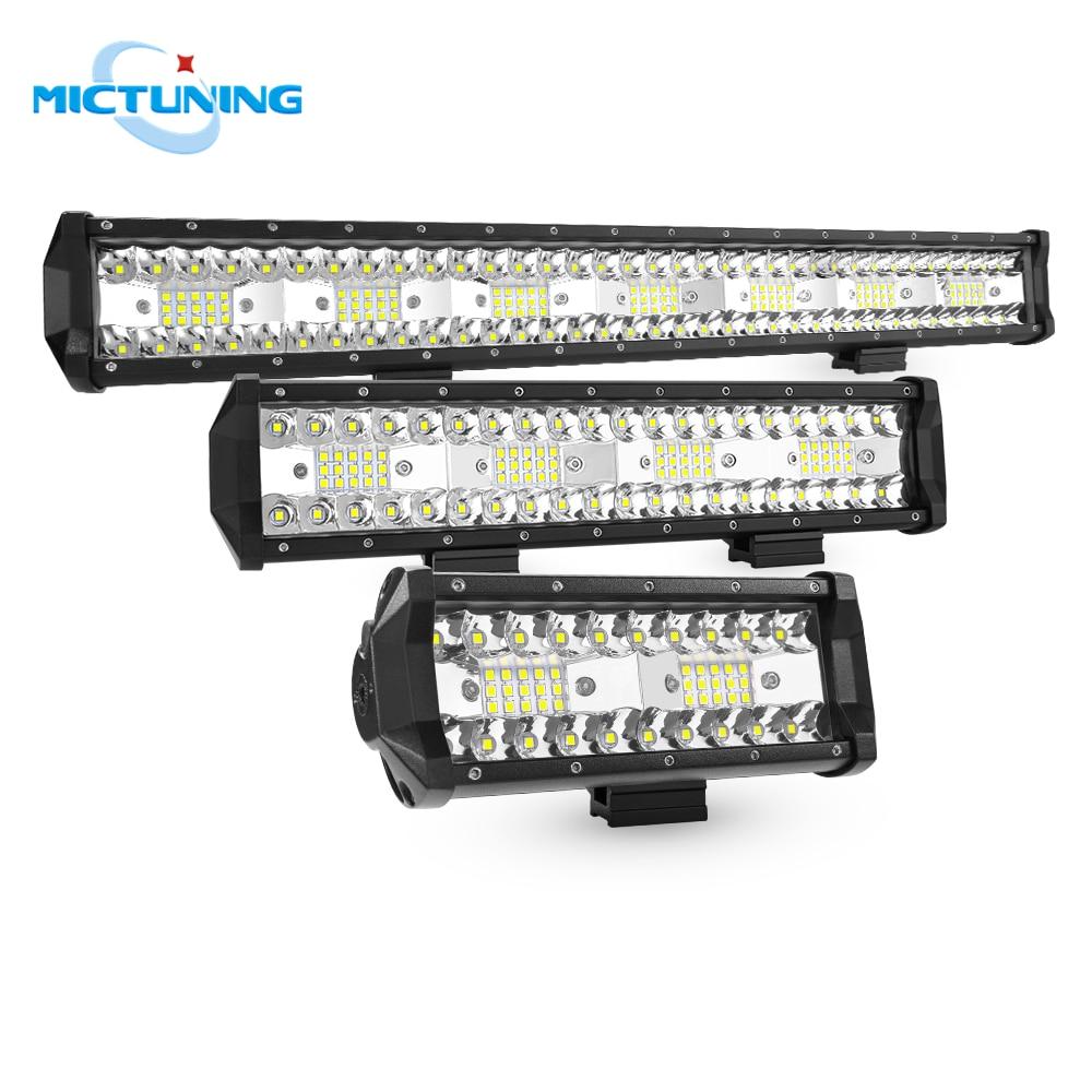 "MICTUNING 7"" 12'' 20'' Five Row LED Work Light Bar 36W 72W 126W Offroad Backup Combo Driving Reversing Lamp for ATV UTV SUV Boat"