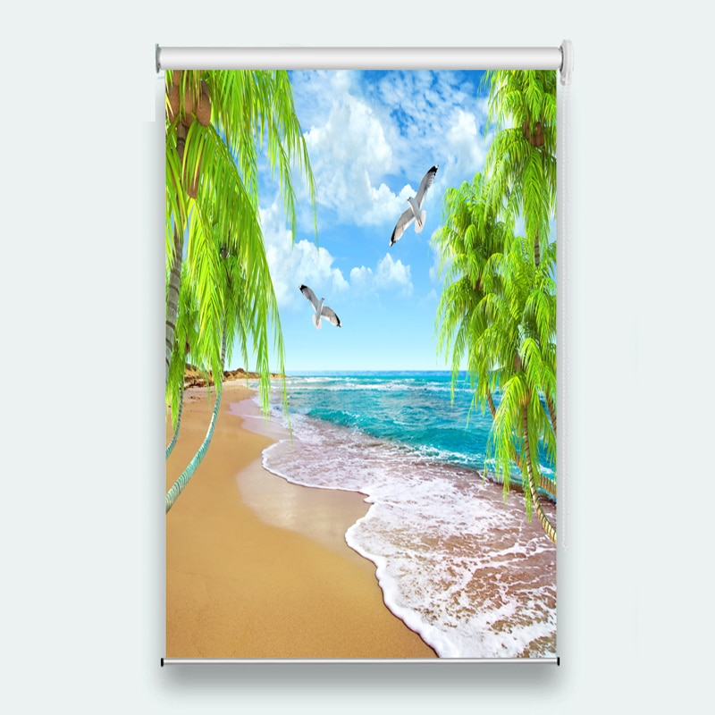 2019 persianas enrollables 3d Spray Coco ventana Sala dormitorio Hotel sala de reuniones cortinas enrollables de impresión