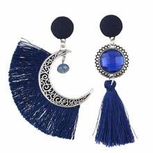 Bohemian India Vintage Thread Tassel Moon Fringe Earring Irregular Glass Crystal Bead Button Dangle Earrings for Women Brincos
