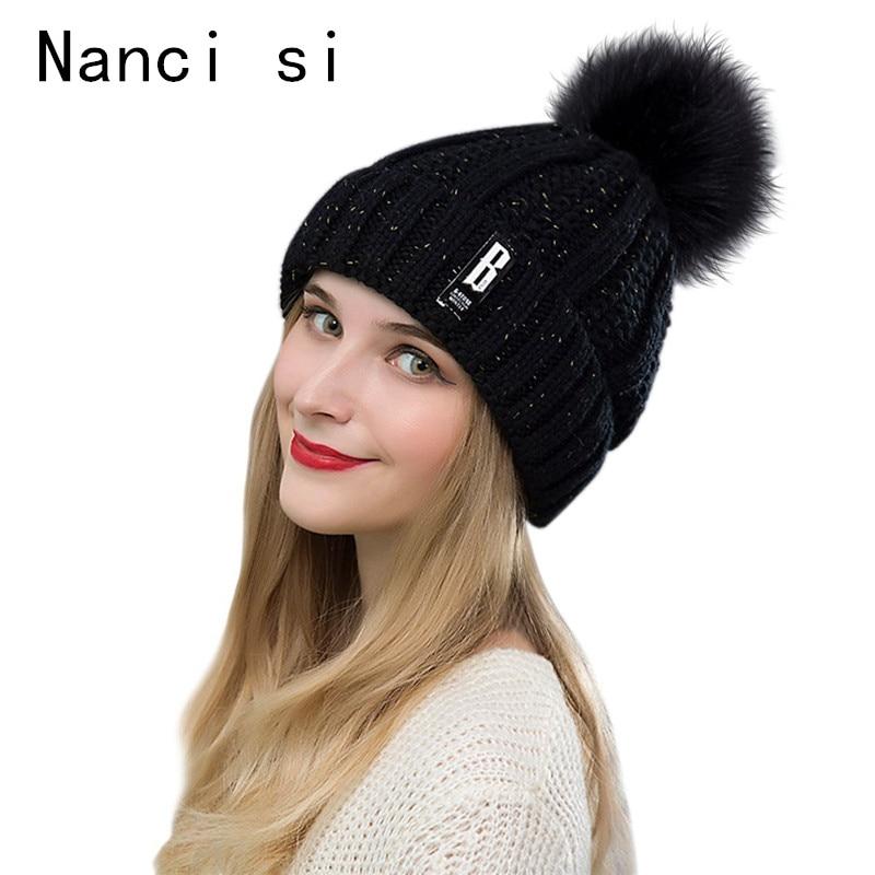Marca Nanci si invierno pompón bola caliente Skullies Gorros sombreros de punto sombrero para mujer chica Casual Gorros Doble capa de