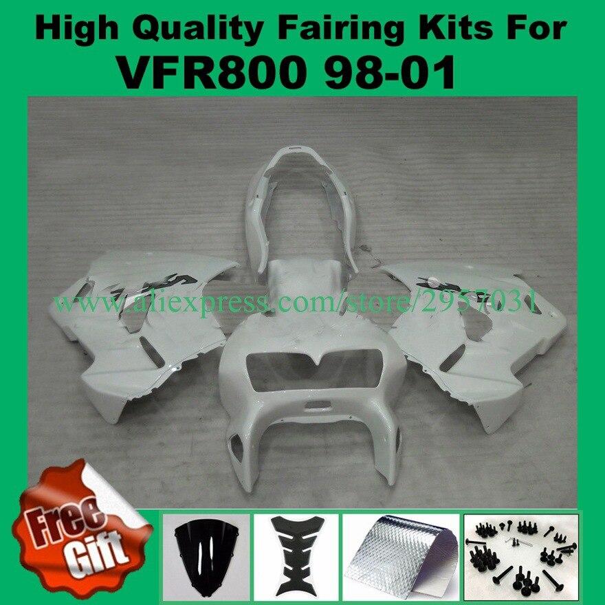 Tornillos gratuitos kit de carenado para HONDA VFR800 98 99 00 01 VFR 800, 1998, 1999, 2000, 2001 ABS juego de carenados + regalos todo blanco