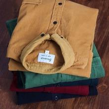 Printemps hommes chemise en velours côtelé 100% coton manches longues chemise de fond mince vin rouge haute qualité 4XL