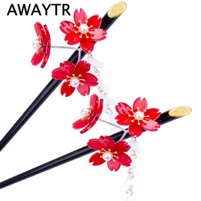 Заколка для волос AWAYTR, Винтажная заколка для волос с красными цветами и кисточками в виде вишни, 2019
