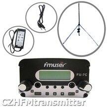 FU-7C FMUSER 7 w trasmettitore stereo pll trasmissione 1/4 donda GP antenna Powersupply 76 MHz-108 MHz