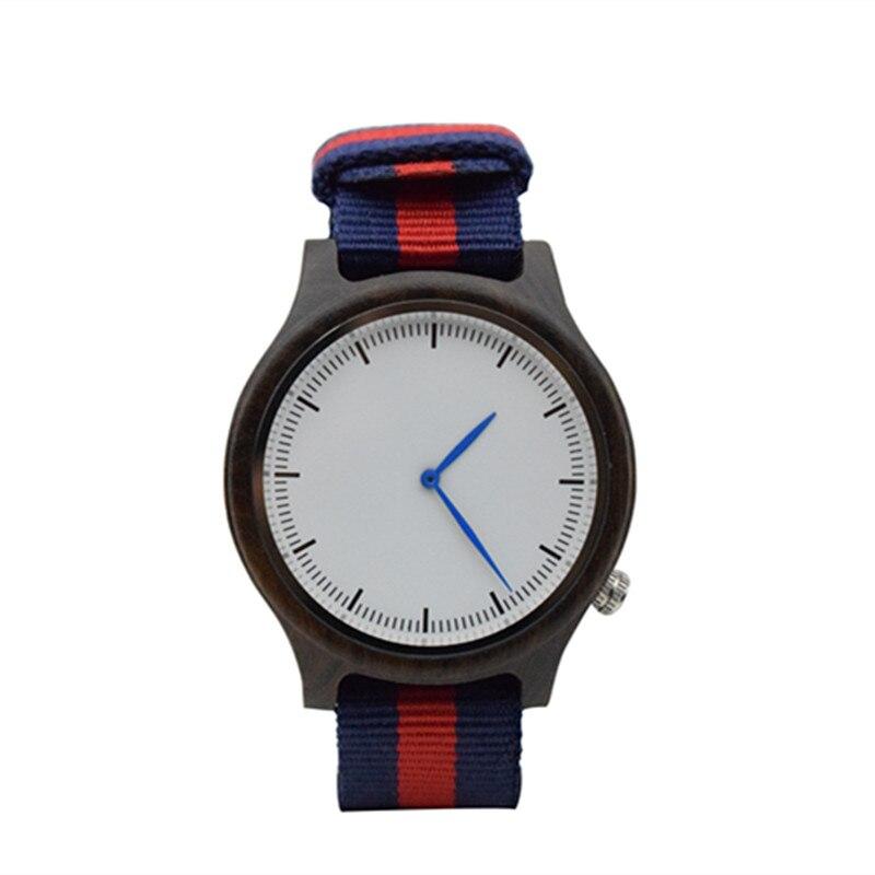 Reloj de madera de ébano negro hecho a mano para hombre con correa de nailon Impot Japón 2035 movimiento grandes regalos para novio