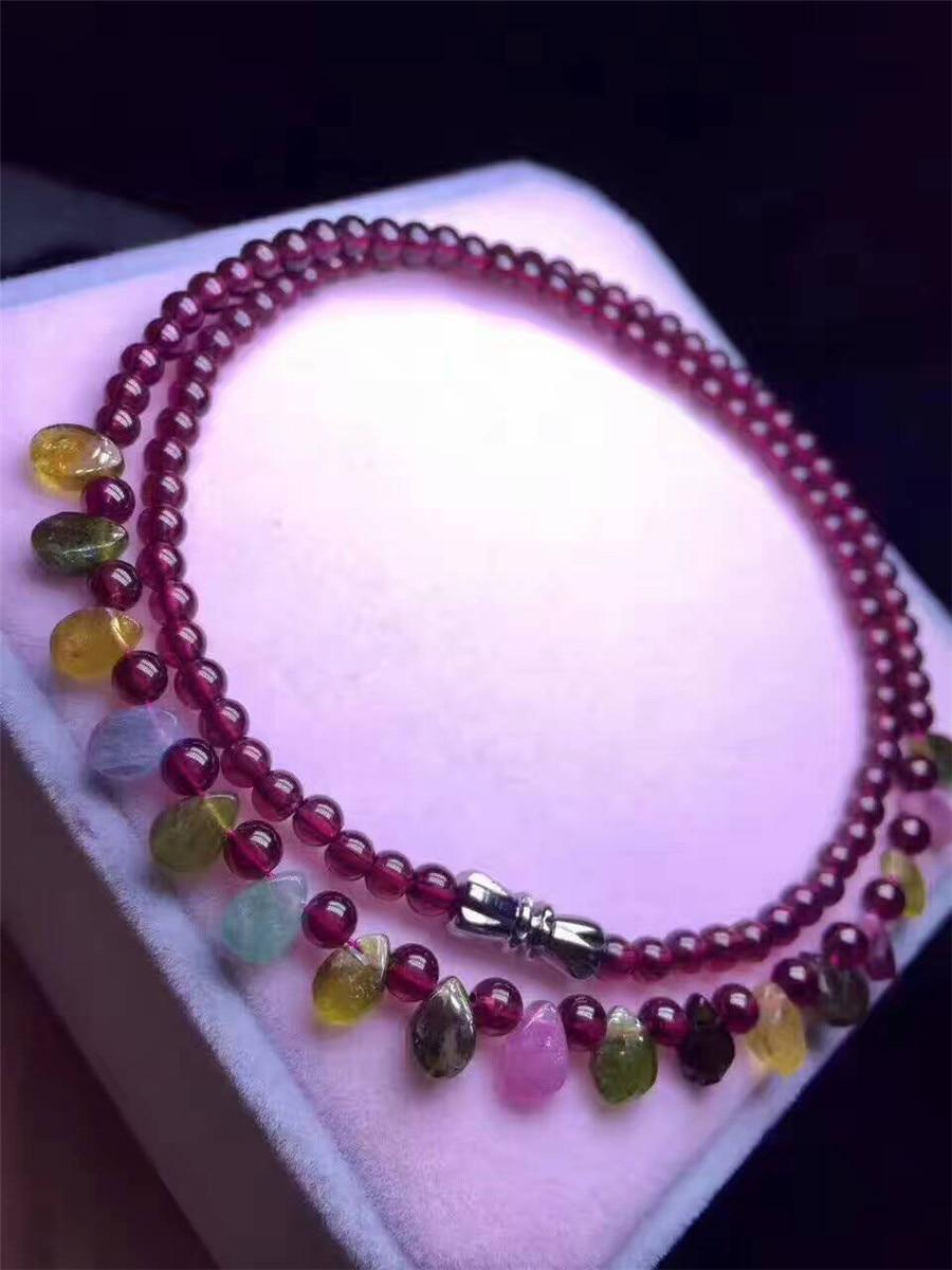 Collar de cristal de turmalina Natural de color auténtico, cuentas redondas de cristal de cuarzo granate púrpura de moda AAAAA