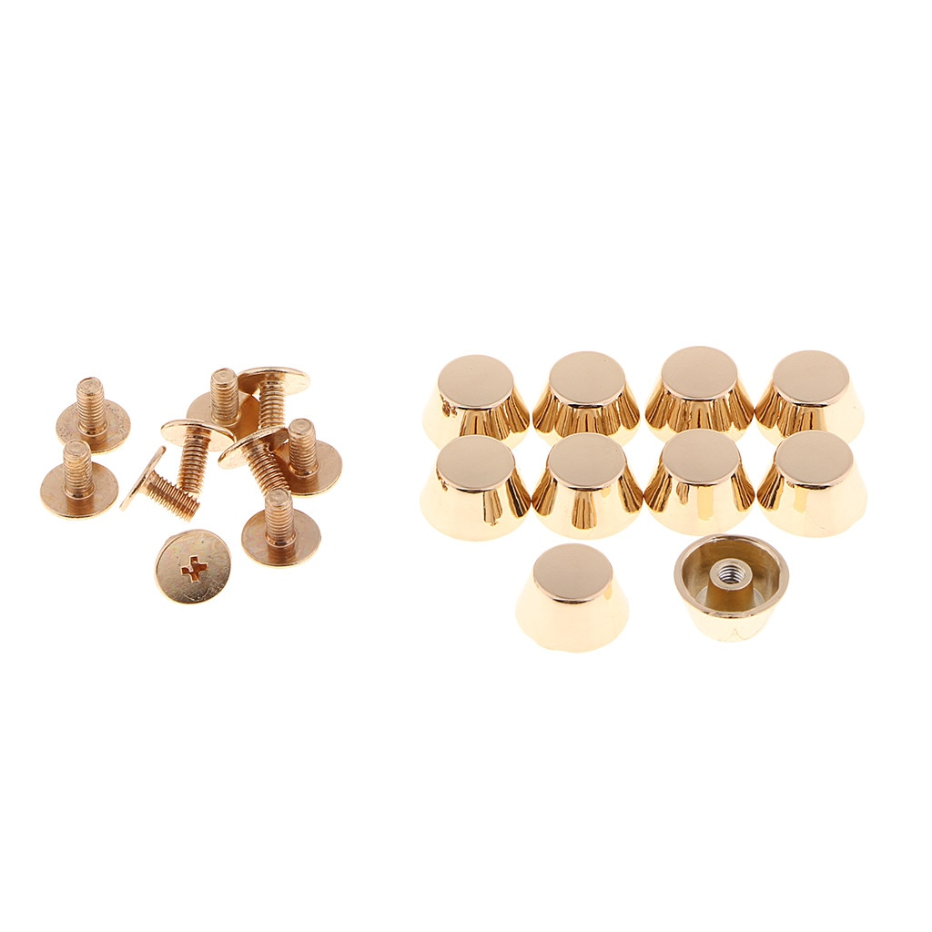 10 pçs bolsa pés nailheads cubeta forma screwback flat studs artesanato de couro