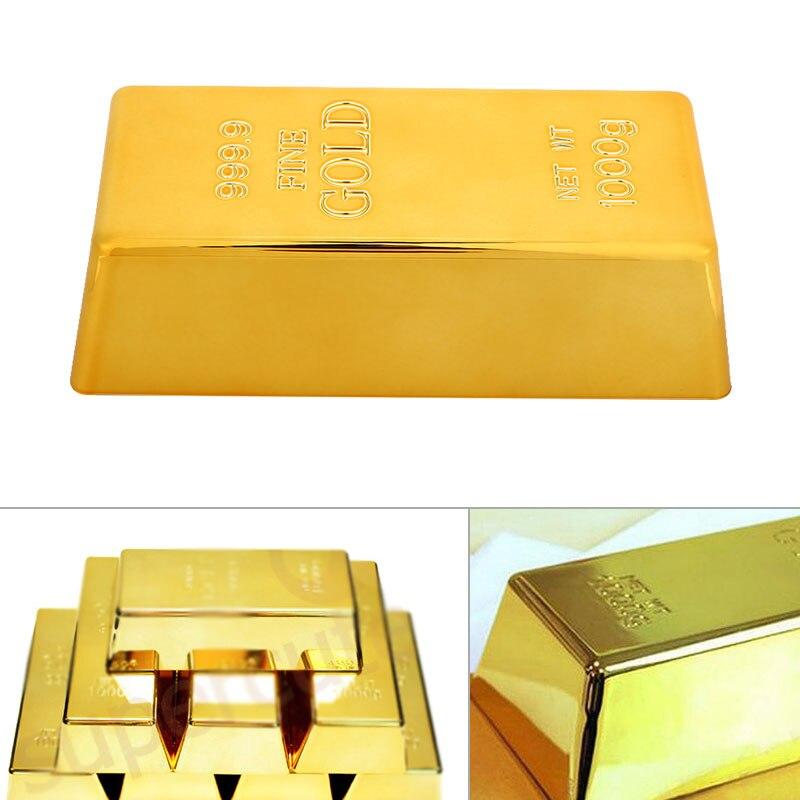Barra de oro falso hueco sólido pisapapeles Tope de puerta ladrillo de oro papel de simulación pesa juguete creativo plástico latón Polished999
