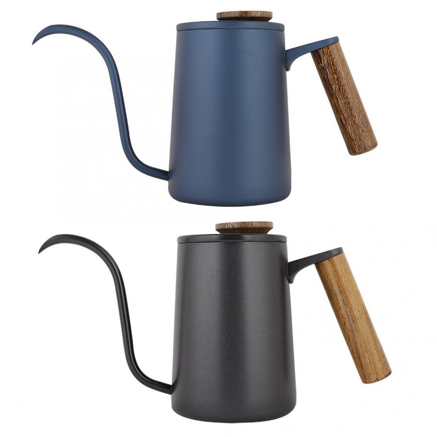Tetera de café con mango de acero inoxidable a la moda de 600 ml, tetera de café de boca larga con boquilla de largo cuello de ganso