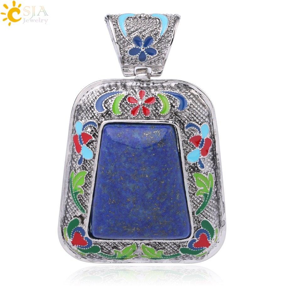 CSJA gran tamaño lapislázuli colgante de piedra Natural para hombre para collar gema semipreciosa fabricación de joyas Reiki buena suerte saludable F991