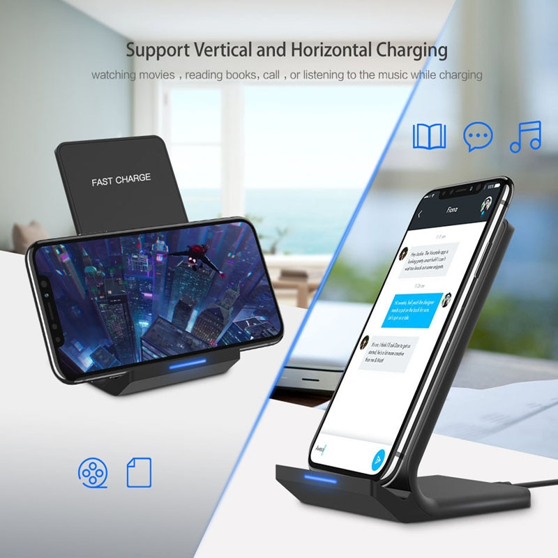 10W Qi Fast Wireless Charger For iPhone X XS Max XR 8 Samsung Note 9 8 S9 S8 Charger USB Power Charging Pad Docking Dock Station