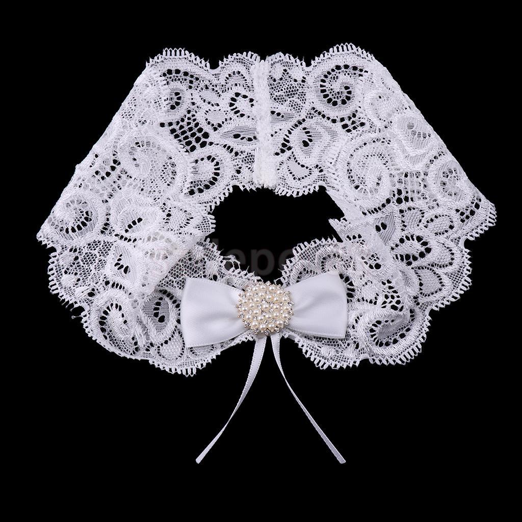 Кружевная подвязка с бантом и стразами, белая подвязка для свадьбы