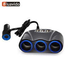 Bluavido-adaptateur allume-cigare   3 voies, prises Auto de voiture, allume-cigare, séparateur allume-cigare, 5V, 3.1A sortie puissance 3 chargeur USB 12V/24V