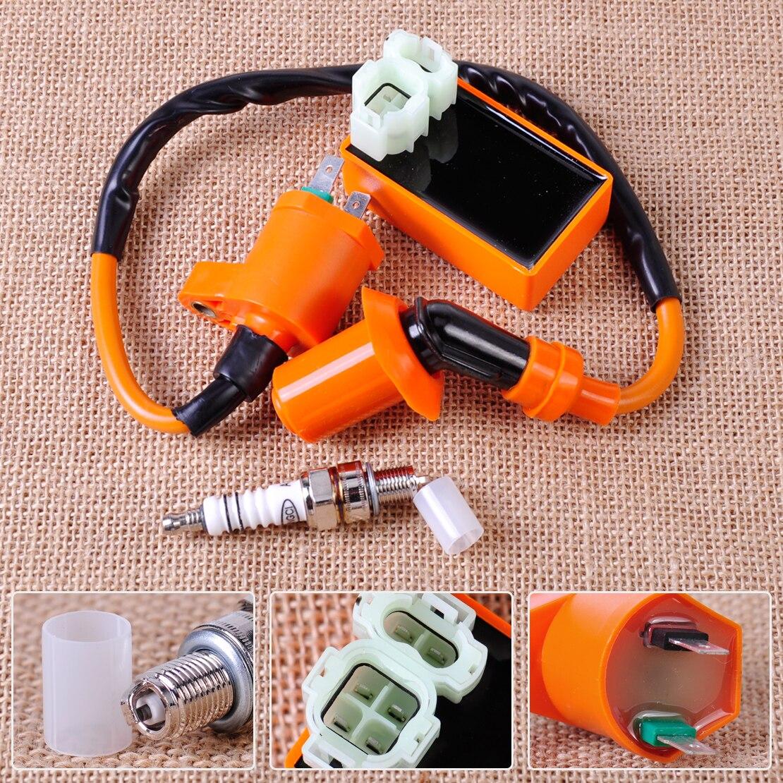 Citall racing bobina de ignição + laranja 6 pinos cdi caixa vela ignição para gy6 50cc 70cc 90cc 125cc 150cc scooter ir kart ciclomotor qmi157