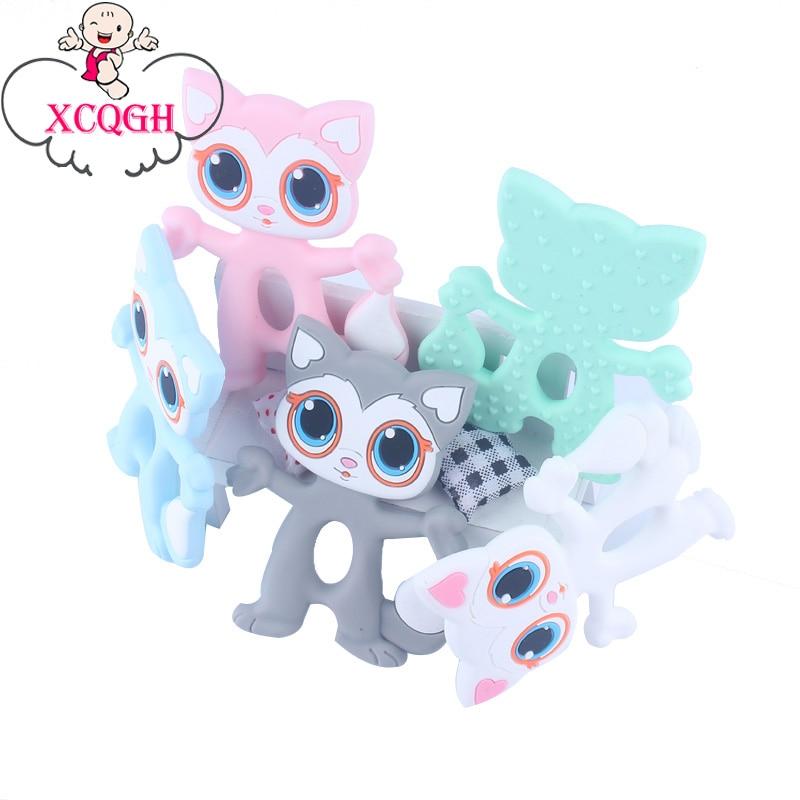 Mordedores colgantes de silicona XCQGH 1 Uds. Para bebés, gatos, bebés, mordedores, juguetes de 5 colores para morder bebés