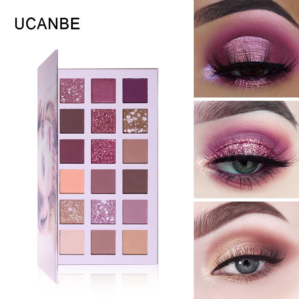 UCANBE 18 Cores NUDE Eyeshadow Palette Shimmer Glitter Matte Pó Pigmentado Maquiagem Suave Natural Borgonha Kit Sombra de Olho