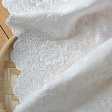 Delicate Beige/Natürliche-weiß Baumwolle Tuch Bestickte Spitze Stoff DIY Handgemachte Spitze Trim DIY Handwerk Zubehör 22cm 3Yds/lot