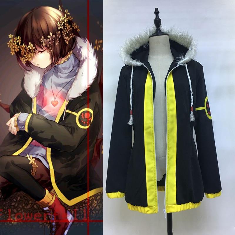 2017 nova chegada jogo undertale frisk cosplay traje de manga completa com zíper casaco com capuz casaco gola pele jaqueta feita sob encomenda