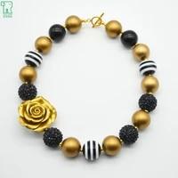 5pcs lot baby girls gold flower necklace princess chunky bubblegum beads necklace child kids christmas style costume jewelry