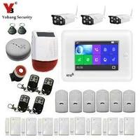 Yobang     KIT de systeme dalarme de securite domestique  wi-fi 3G  WCDMA  RFID  controle par application  anti-cambriolage  camera IP  capteur de fumee dincendie