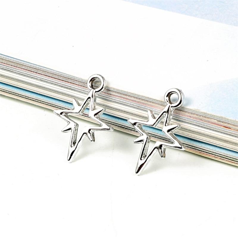 10 Uds pendientes de plata de meteoro Cruz colgantes de abalorios DIY hallazgos collar hueco pulsera mujeres accesorios de joyería de moda C242