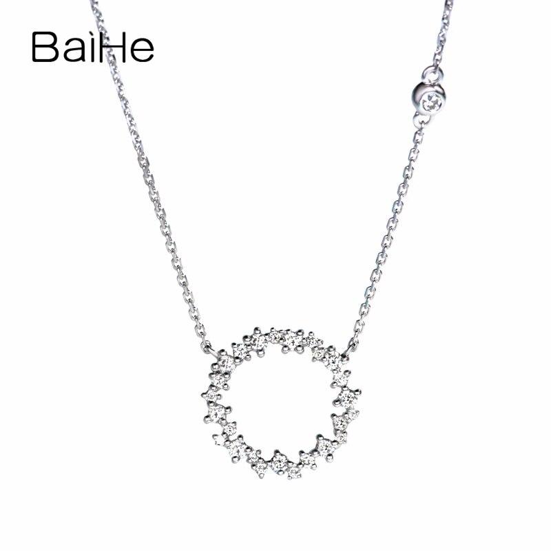 BAIHE-عقد من الذهب الأبيض عيار 18 قيراط مرصع بالألماس الطبيعي للنساء ، مجوهرات خطوبة ، ذهب أبيض عيار 18 قيراط 0.22ct