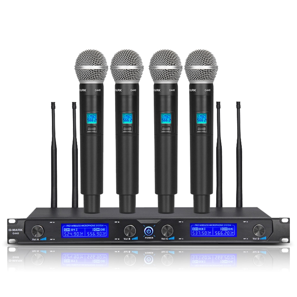 sydmic professional 4 channel wireless microphone system cordless karaoke system four lavalier mic s for stage show home party G-MARK G440 Wireless Microphone System Professional 4 Channels Dynamic Handheld Mic Karaoke Party Stage