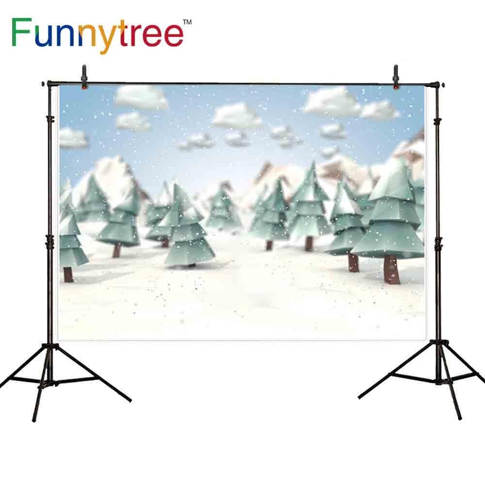 Funnytree photophone fundo bonito inverno céu nuvens pinheiros neve montanha bebê fond estúdio foto pano de fundo photocall