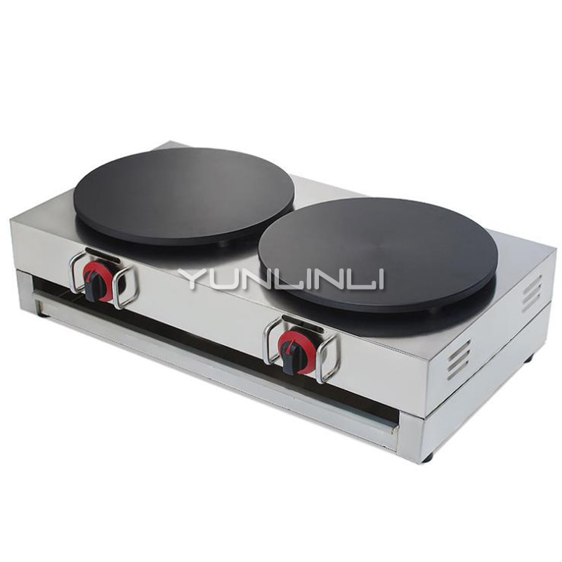 Commercial Gas Crepe Maker Double Burner Pancake Machine Gas Crepe Making Machine Pancake Maker NP-596 hot sale popular 5l commercial spanish churro maker machine with 6l fryer maker churros making machine with ce in high quqlity