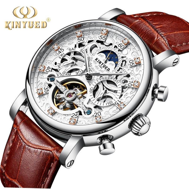 Esqueleto relógio automático masculino sol fase da lua à prova dwaterproof água tourbillon relógios mecânicos marca superior luxo relógios de pulso kinyued