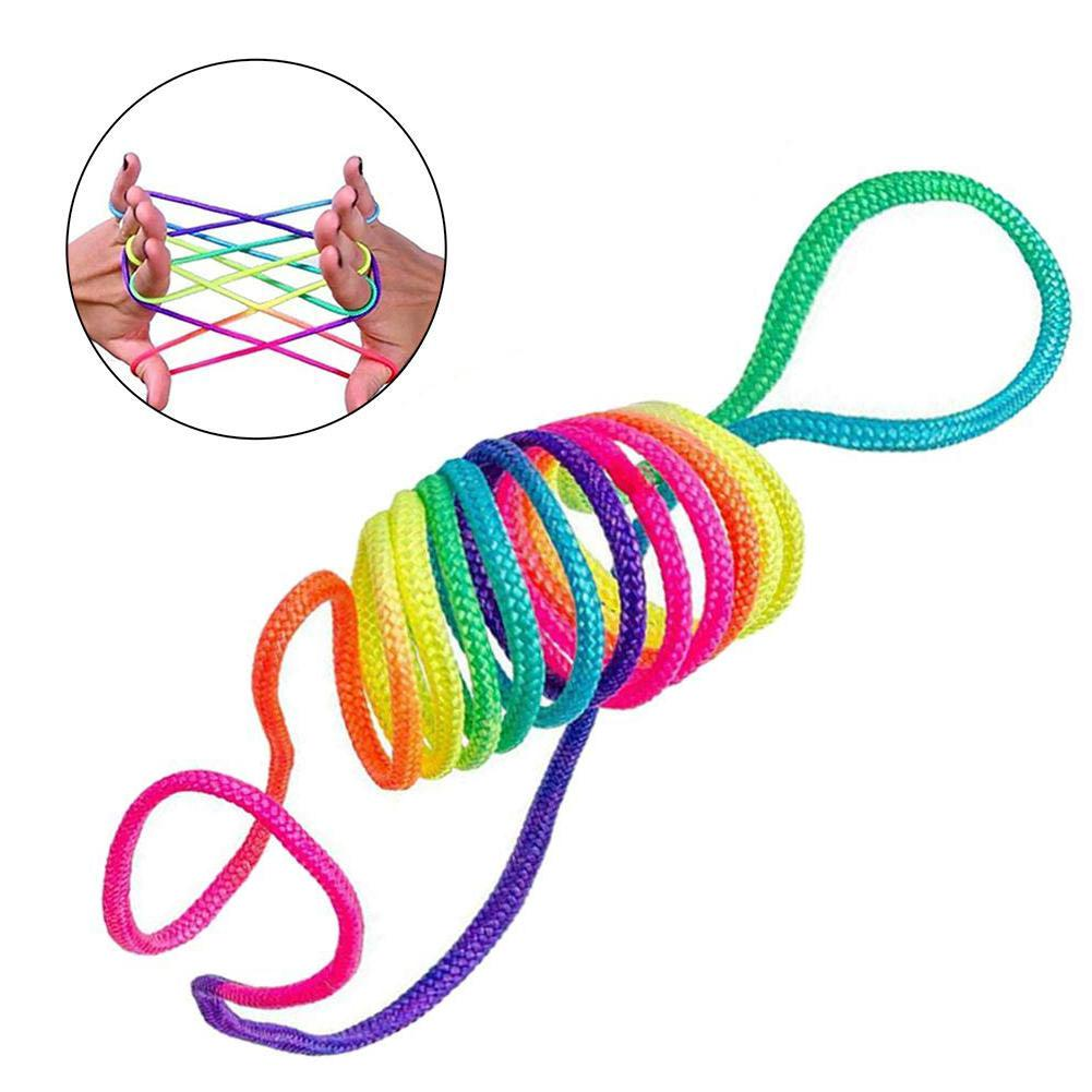 Kids Rainbow Colour Fumble Finger Thread Rope String Game Developmental Toys for Children gift