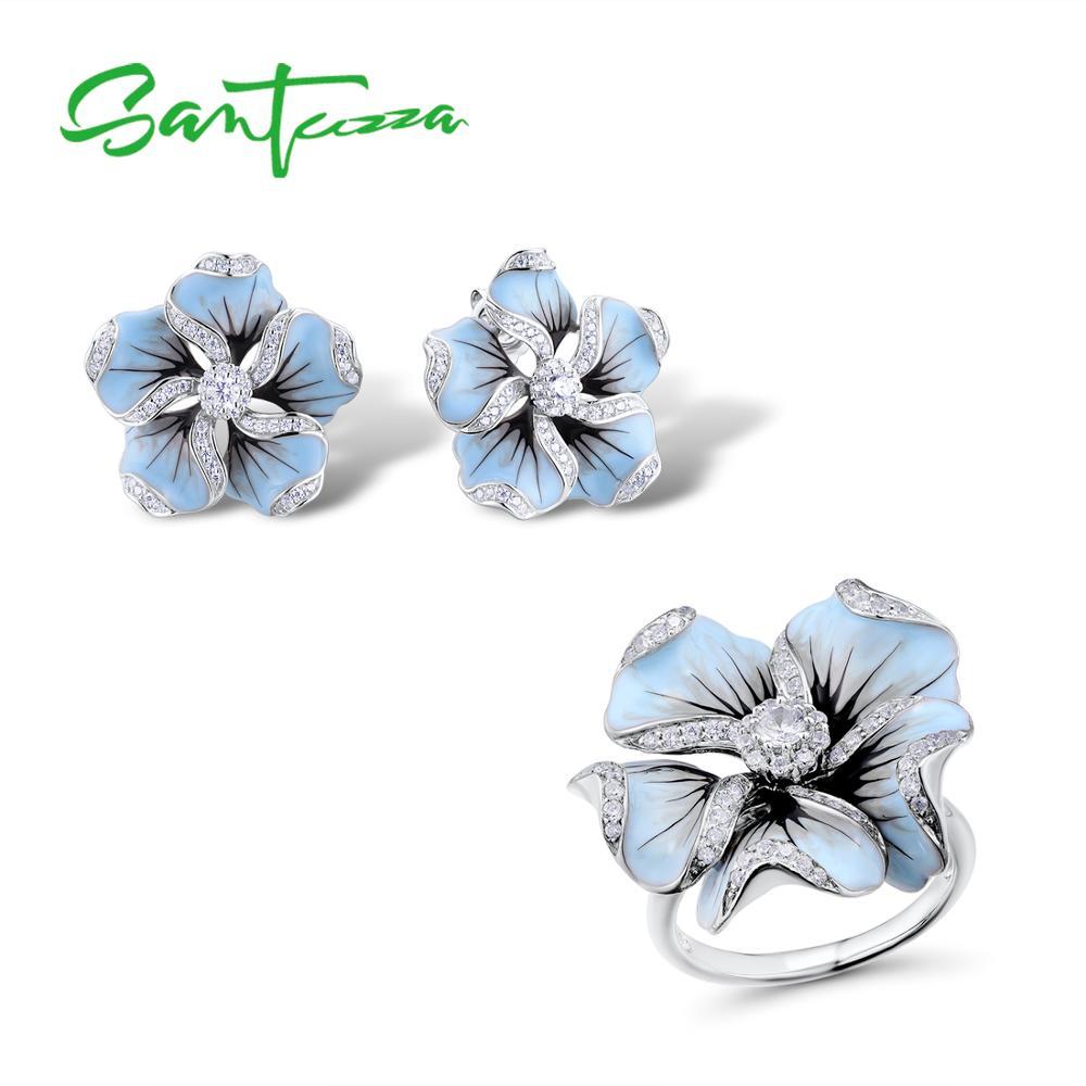 Santuzza conjunto de jóias 925 prata esterlina para a mulher lindo azul flor anel brincos moda na moda conjunto de jóias artesanal esmalte