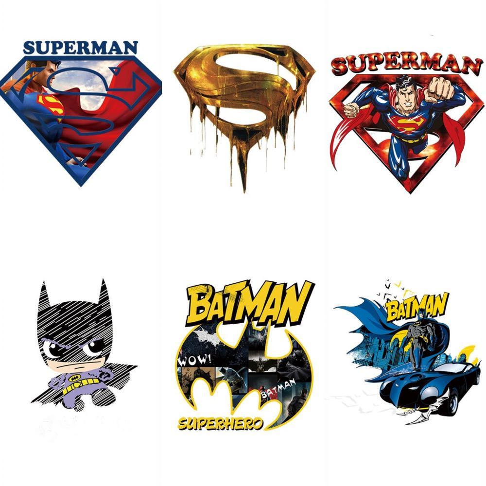 1Pcs Batman Superman logo eisen patch auf wärme transfer thermische patches für kleidung applique DIY abzeichen super hero comic avengers
