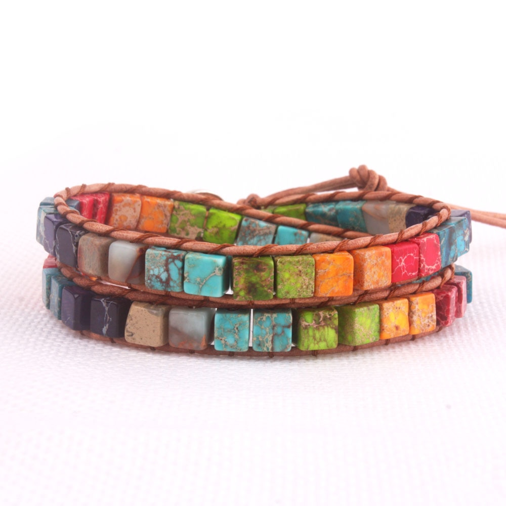 2X разноцветный кожаный браслет из натурального камня ручной работы Прямая поставка ювелирных изделий