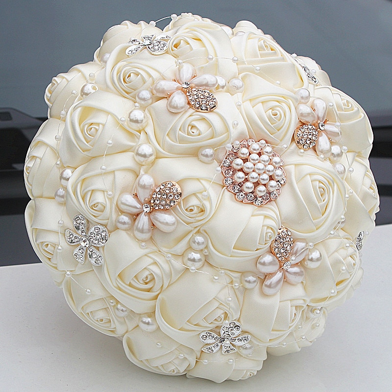 MissRDress precioso Bruidsboeket ramo de novia de perlas marfil ramos de novia rosas artificiales para boda AccessorieJK313