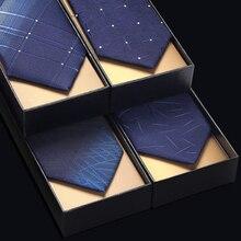7 cm Tie voor Mannen Luxe Formele Smoking Bruiloft Mannen Tie Blauw Gestreepte Heren Stropdassen Top Kwaliteit Microfiber met Gift doos