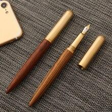 Stylo plume en bois classique en métal de luxe 0.7mm stylos de calligraphie Fine plume écriture papeterie fournitures scolaires de bureau